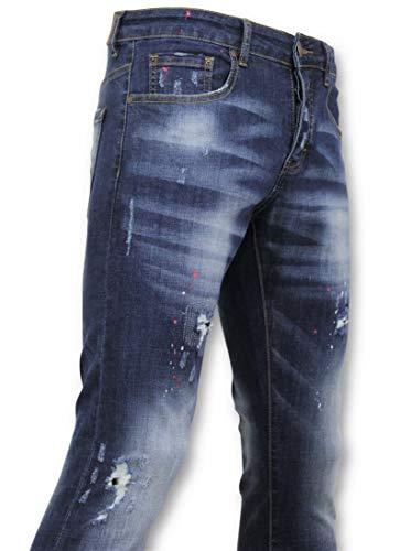 Basic Broek Heren - Heren Jeans Verf - D3065 - Blauw