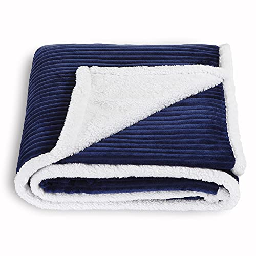 SOCHOW Sherpa Fleece Throw Blanket, Super Soft Fluffy Warm Stripe Plush Blanket for Sofa Couch Bed 60 x 80 Inches, Navy Blue