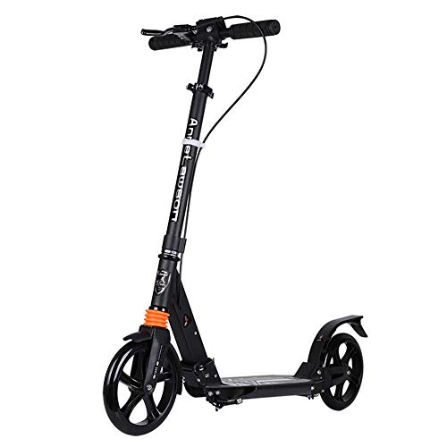 HLH-Fitness Equipment Durable Big Wheel Two-Wheeled Adult Scooter All-Aluminum Adult Pedal Scooter Non-Slip (Color : Black)