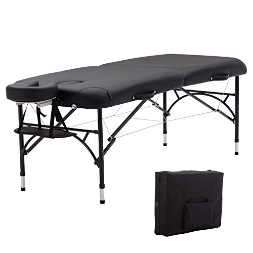 """Artechworks 30"""" Width Portable Lightweight Massage Table Facial Solon Spa Tattoo Bed With Aluminium Leg, (2.56"""" Thick Cushion of Foam) for Home Office Living Room, Black"""
