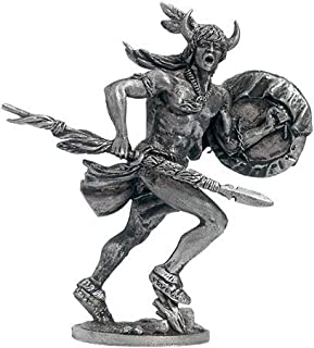 American Indian with a Spear and Shield Tin Toy Soldiers Metal Sculpture Miniature Figure Collection 54mm (Scale 1/32) (WW-22)