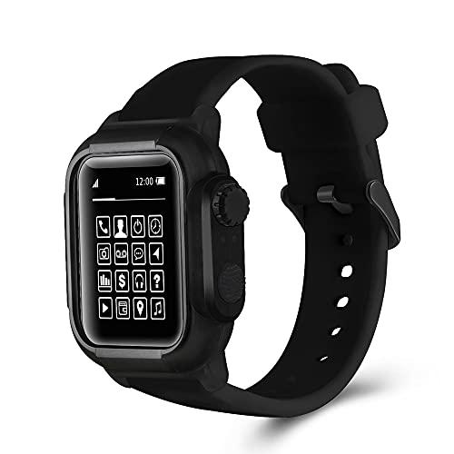 CHENPENG Correa de Buceo Impermeable Compatible con Apple Watch, Carcasa Resistente de Cuerpo Completo, Pulsera de Repuesto para Nadar, bucear, Esquiar, Escalar,A,38mm