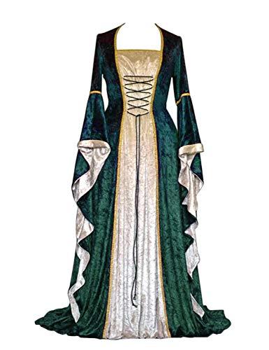 Effeltch Womens Retro Halloween Costume Renaissance Medieval Dress Lace Up Irish Over Long Dresses (Green, X-Large)