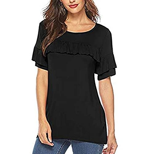 LalalukaBluseDamen OberteileEinfarbig Rundhals Rüschen Lassige T-Shirt Frauen SommerT Shirt BluseTSshirtTshirtHemdLongshirtOberteilTunikaTop KurzarmshirtSweatshirtTee