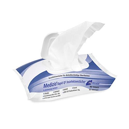 Medizid Rapid+ Desinfektionstücher • Flächen desinfektion • 1 Flowpack = 80 Tücher, Tuchgröße: ca. 22 x 20 cm