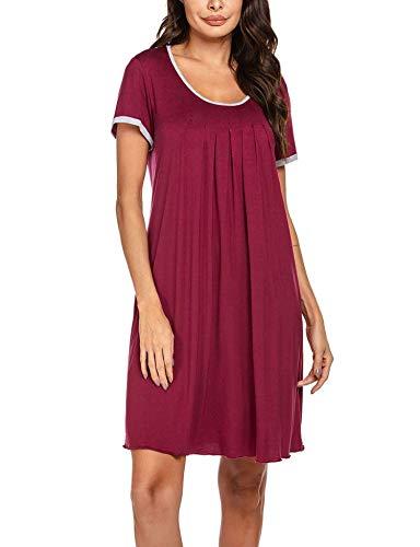 Ekouaer Plus Size Nightgowns Women Summer Short Sleeve Sleepwear Plain Dress Wine Red XXL