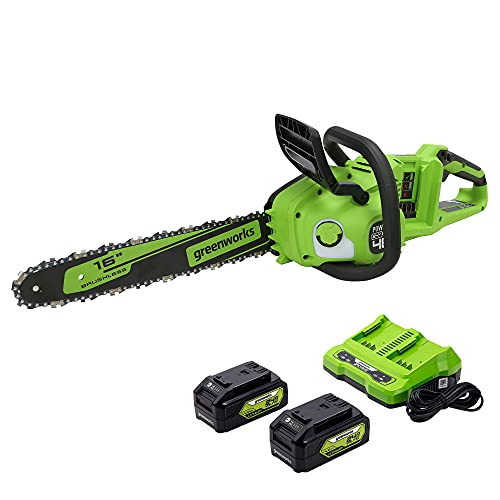 Greenworks 48V 16' Brushless Cordless Chainsaw, (2) 4.0Ah USB Batteries (USB Hub) and Dual Port Rapid Charger Included (2 x 24V)