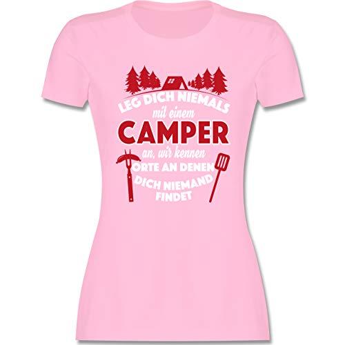 Hobby - Leg Dich Niemals mit einem Camper an - M - Rosa - Hobby Shirts - L191 - Tailliertes Tshirt für Damen und Frauen T-Shirt
