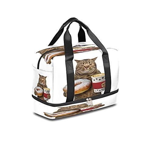 Bolsa de deporte para gimnasio con diseño de gato divertido y donut de viaje, ligera durante la noche, con bolsillo húmedo y compartimento para zapatos, bolsa impermeable para hombres y mujeres