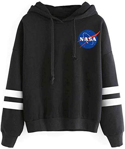 OLIPHEE Felpe con Cappuccio Classico con Logo di NASA di Fronte e Dietro Hoddies per Ragazzi e Uomo A-Nero S