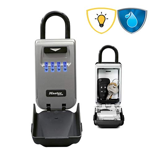 Master Lock Schlüsseltresor mit beleuchteten Zahlencode [Medium] [Wetterfest] [Bügel] 5424EURD – Schlüsselsafe