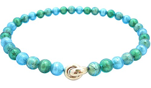 Murano-Kette Collier Perlen Handarbeit echtes Murano-Glas hochwertige Klapp-Schließe Sterling-Silber gold-plattiert 585 Goldschmiede-Arbeit