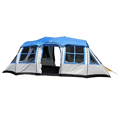 Tahoe Gear Prescott 12 Person 3-Season Instant Family Camping Cabin Tent, Blue