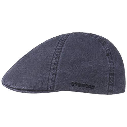 Stetson Texas Organic Cotton Flatcap Herren - Nachhaltige Schiebermütze mit Bio-Baumwolle - Flat Cap mit UV-Schutz (40+) - Herrencap Frühjahr/Sommer - Schirmmütze blau XL (60-61 cm)