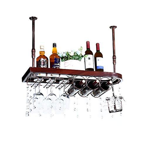 Estantes de Stemware de Madera Maciza Soporte de la Botella de Vino Colgante montado en el Techo de Metal Revertido Copa de Vino de Cristal Estante 30~60cm Boom Ajustable (Tamaño : 60×28cm)