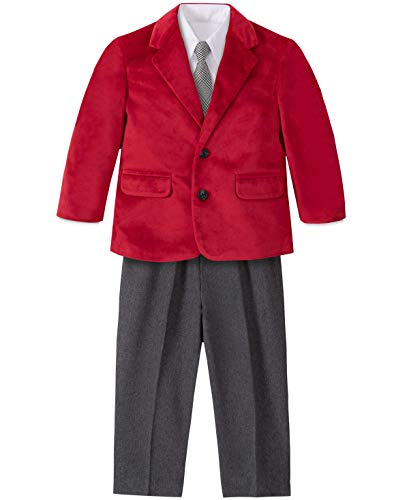 Nautica Baby Boys 4-Piece Suit Set with Dress Shirt, Jacket, Pants, and Tie, Red Rooster, 18 Months