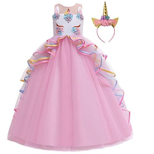 MYRISAM Niñas Disfraz de Halloween Princesa Vestido de Unicornio para Chicas Cumpleaños de Boda Carnaval de Fiesta de Cosplay Navidad Comunión Flor Vestidos de Baile con Diadema 4-15 Años