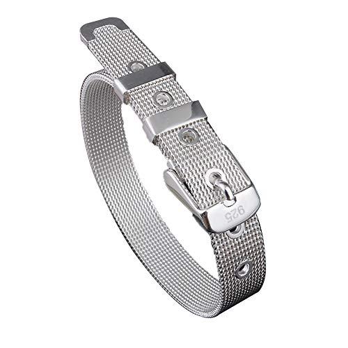 Pulsera de acero inoxidable pulsera astilla cinturón hebilla para mujer de 10 mm de ancho se ajusta hasta 8,5'pulgadas muñeca
