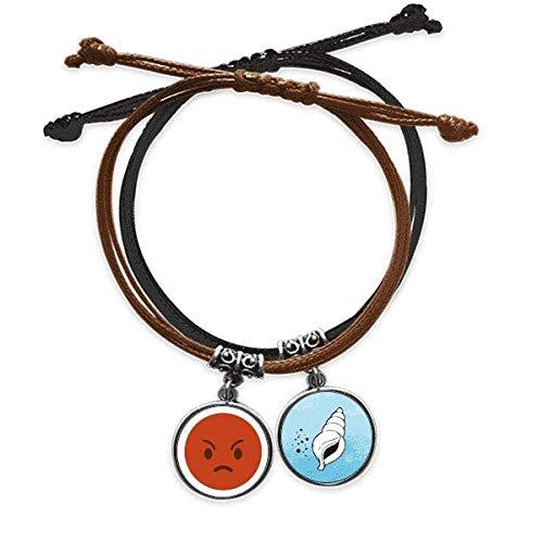 DIYthinker süßes Keyboard-Armband, rote Linie, Wut, Smiley, Illustration, Armband, Kordel, Leder, Kegel