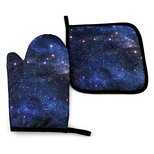 Nebula Galaxy Heat Resistant Oven Gloves And Pot Holders,Waterproof Kitchen Mitts Non Slip Pot Holders Cooking,Bbq,Easy To Clean And Store