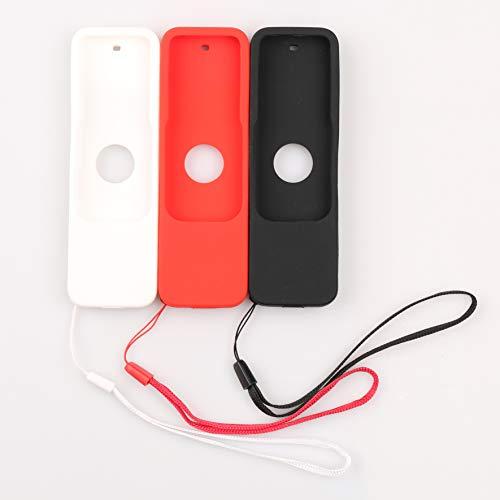 homEdge Custodia per telecomando Apple TV con cinturini da polso, custodia protettiva per Apple TV 4K 4a generazione Siri Remote, set di 3 confezioni (nero bianco rosso)