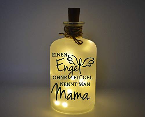 Farbwuselei Flaschenlicht Einen Engel ohne Flügel nennt Man Mama mit Korken Lichterkette zum Muttertag, Mutti Bottlelight Dekoflasche Beleuchtung LED Leuchtflasche Geschenk Homedeco modern