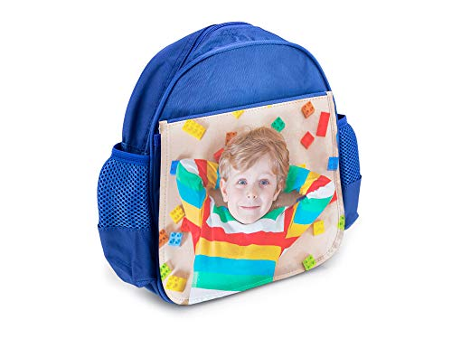 Mochila Infantil Azul Personalizada con tu Foto o Texto para el Cole o la merienda 7,5 cm x 23 cm x 25 cm