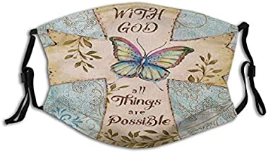 Religious Cross Christian Faith with God All Things are Possible Butterfly Unisex Washable and Reusable Cotton Warm Face Prot