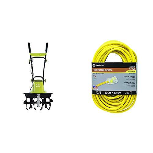 Sun Joe TJ604E 16-Inch 13.5 AMP Electric Garden Tiller/Cultivator,Black & Southwire 25890002 2589SW0002 Outdoor Cord-12/3 American Made SJTW Heavy Duty 3 Prong Extension Cord, Yellow, 100 Feet