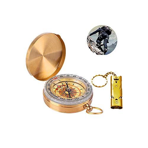 LATTCURE Kompasse und Signalpfeife, Messing Kompass, Portable Wasserdicht Kompass mit Leuchtziffern, Portable Kompass Outdoor Taschenkompass für Camping, Wandern und andere Outdoor Aktivitäten