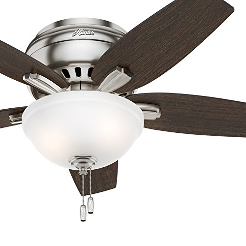Hunter Fan 42' Hugger Ceiling Fan in Brushed Nickel with Cased White Glass Light Kit, 5 Blade (Renewed)