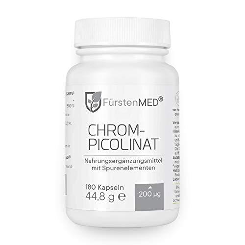 FürstenMED® Chrom Kapseln aus Chrompicolinat - Essentielles Spurenelement mit 200 mcg - 180 Vegane Kapseln aus Deutschland - keine Tabletten