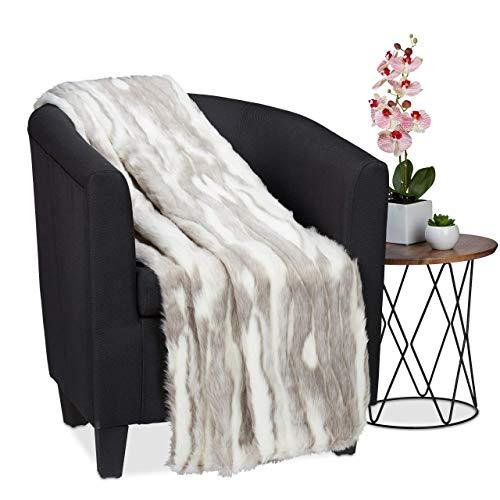 Relaxdays Kuscheldecke in Felloptik, warme & weiche Couchdecke aus Webpelz, waschbar, Flauschdecke, 150x200cm, grau-weiß