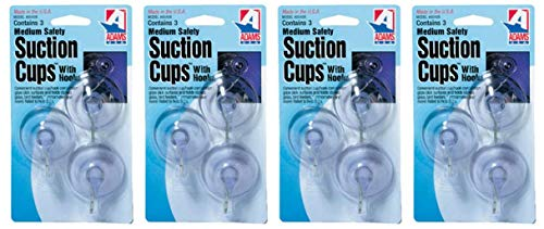 Adams Manufacturing 6500-74-3040 1-3/4-Inch Suction Cup Hook, Medium, 3-Pack (F?ur Pa?k)