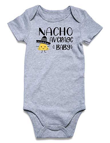 Loveternal Baby Boys Nacho Average Baby Onesies Girls Gray Cotton Romper Toddler Gender Neutral Aunt Onsies Pregnancy Gift Underwear 3-6 Months Shower Gifts