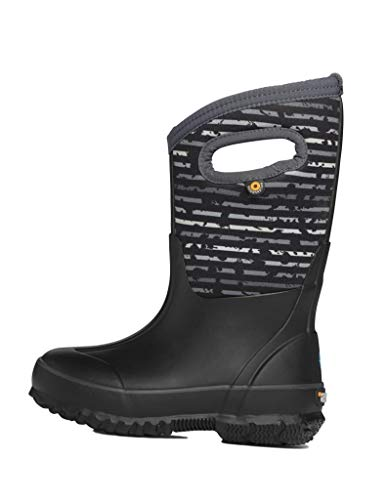 BOGS Kid's Classic High Waterproof Insulated Rubber Neoprene Snow Rain Boot, Spot Stripes Print - Black, 5 M US Big Kid