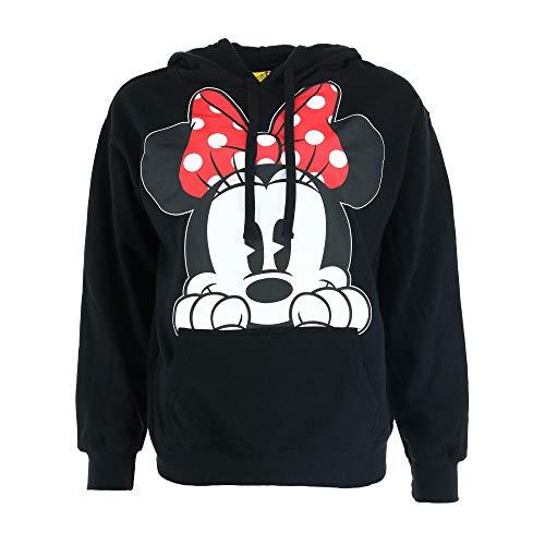 Disney Adults Minnie Mouse Peeking Fleece Hoodie Black