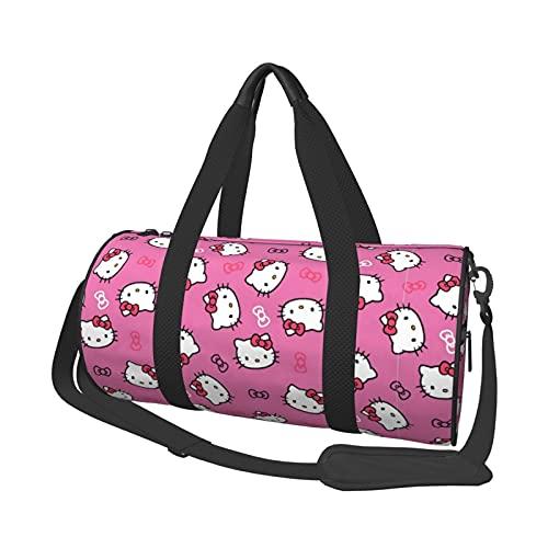 Hello Kitty Multifuncional con cremallera para mujeres y hombres, bolso de hombro redondo bolsa de deporte, bolsa de compras, bolsa de gimnasio, bolsa de viaje
