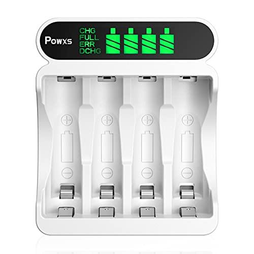 POWXS Cargador de batería de 4 bahías LCD AA AAA con puerto USB y tipo C para baterías recargables NIMH NICD AA AAA