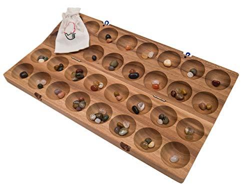 ROMBOL HUS BAO, Steinchenspiel, Bohnenspiel, Halbedelsteine, Mancala, Kalaha, Familienspiel, Gesellschaftsspiel aus Holz