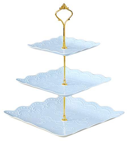 DMFSHI Bandejas para Tartas, Soporte para Tartas, Soporte de Postre de Forma Cuadrada de Plástico de 3 Niveles Decoraciones para Fiestas Niños Cumpleaños Fiesta de té Baby Shower Boda (Azúl)