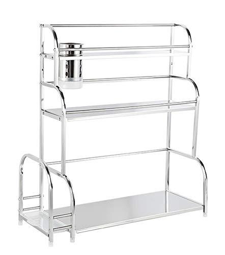 Estante organizador de especias de 3 niveles, estante de almacenamiento de cocina, encimera de baño con palillos y tabla de cortar, 30 cm