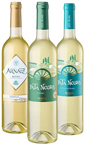 Lote de 3 Botellas de Vino, D.O Rueda Viña Arnaiz Verdejo, Pata Negra Verdejo y Pata Negra Sauvignon Blanc, Pack de 3 botellas x 75 cl