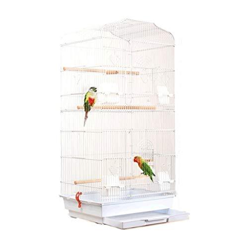 Pájaros pájaros jaulas Parrot metálico Plegado Lata de Hierro Forjado Cae de pájaro más Jaula Alta Pintura Creativa ceja Jaula de pájaros Jaula de pájaros pequeña (Color : White-Regular Version)