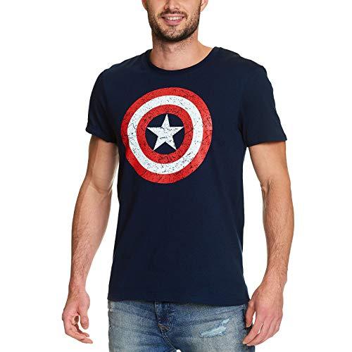 Captain America Shield Marvel T-Shirt großes Comic Logo hochwertiger Druck blau - L