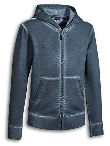 Pocopiano Jungen Sweatjacke Sweatshirt Jacke mit Reißverschuß & Kapuze Garment Dyed, Größe: 128, Farbe: blau