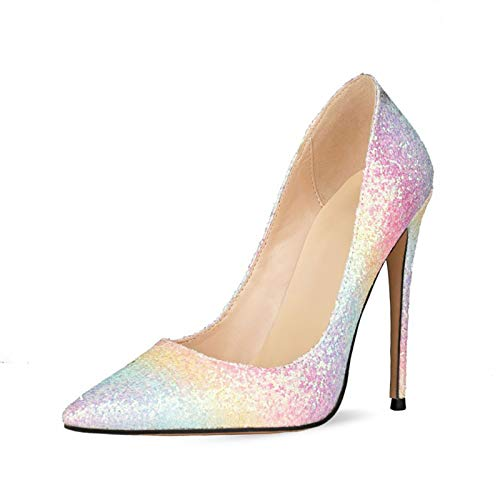 AORISSE Zapatos De Tacón para Mujer, Moda Sexy para Mujer 12 CM Tacones Altos Bomba Punta Puntiaguda Vestido De Fiesta Colorido Tacones Altos Brillantes,Púrpura,41EU