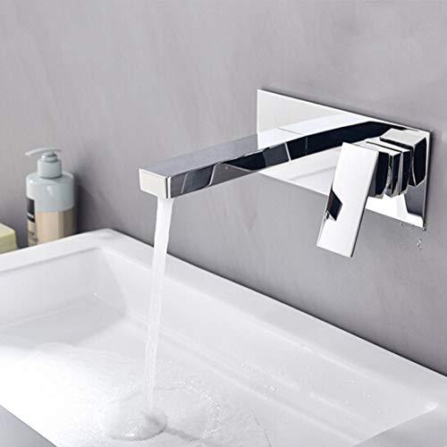 AXWT Moderna de Gama Alta de baño Grifo grifos Cuadrados de Cobre grifos Oculto en la Pared Tipo encajado Insertar Pared Invisible Buried Lavado de la Pared Lavabo Lavabo Manos fría Agua Calor-Tap