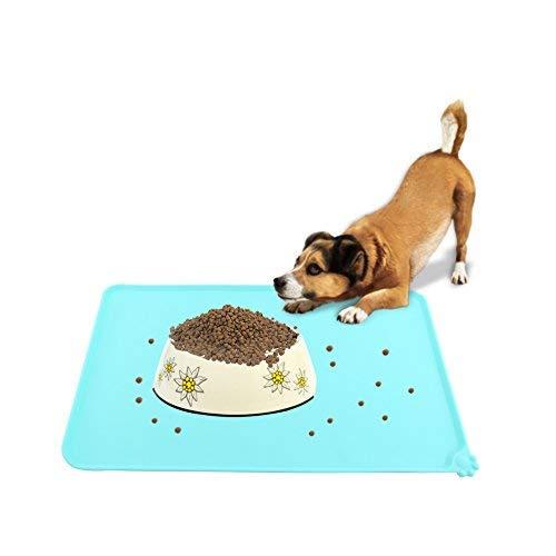 Tovaglietta per Ciotole di Cibo Silicone Tappetino Impermeabile Antiscivolo Quadrato per Cani Gatti, 47,7 x 30cm ( Colore : Verde )