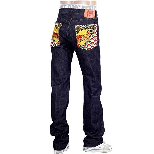 Veelkleurige geborduurde zak Koi Carp Selvedge Jeans REDM5066